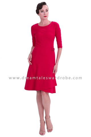 DT1238 Retro Fitted Sleeve Midi Dress -  Red