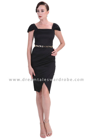 DT1239 Square Neck Tulip Dress - Black