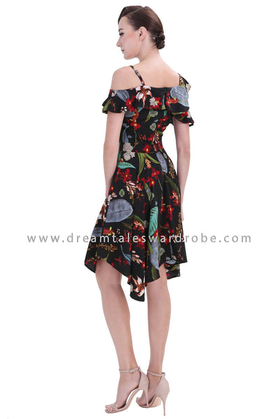 DT1241 Asymmetrical Cold Shoulder Floral Dress - Multi Colour Floral