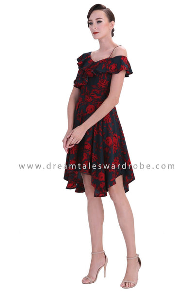 DT1241 Asymmetrical Cold Shoulder Floral Dress -  Red Floral