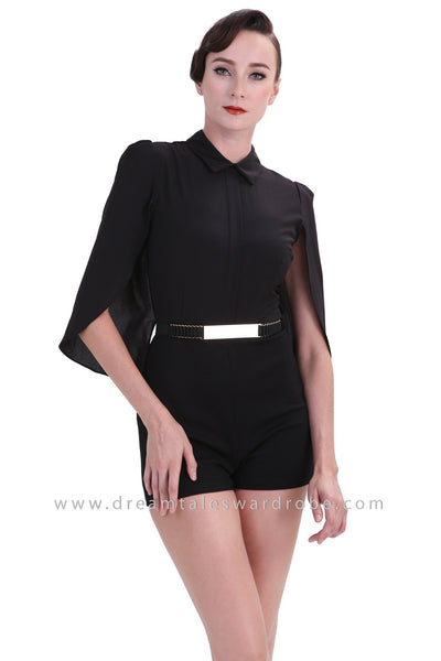 DT1246 Capelet Sleeve Collared Playsuit - Black