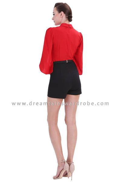 DT1246 Capelet Sleeve Collared Playsuit -  Red