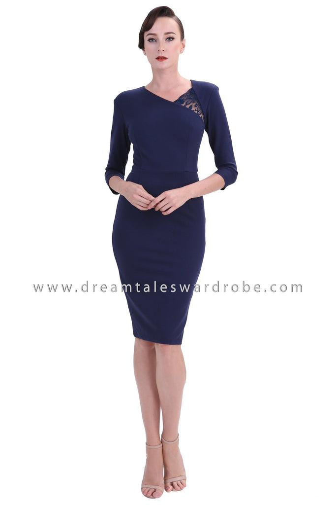 DT1248 Lace Detail Bodycon Dress -  Blue