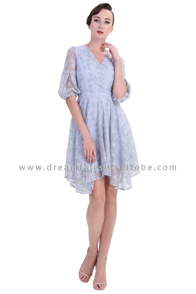 DT1249 Floral Lace Handkerchief Hem Dress -  Blue