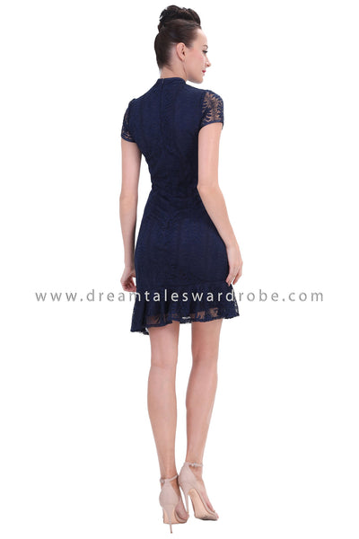 DT1250 Floral Applique Asymmetrical Cheongsam Dress - Blue