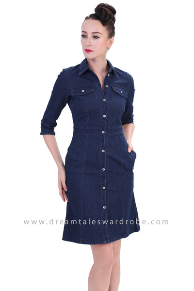 DT1252 Denim Three Quarter Sleeve Shirt Dress - Dark Blue