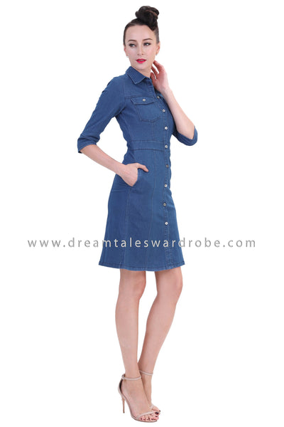DT1252 Denim Three Quarter Sleeve Shirt Dress -  Medium Blue