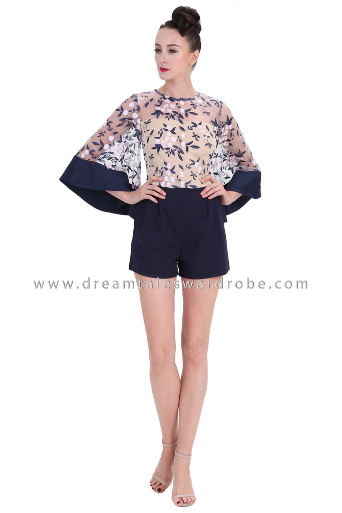 b56ec0cfd0 DT1253 Floral Embroidered Flare Sleeves Playsuit - Blue – DreamTales  Wardrobe