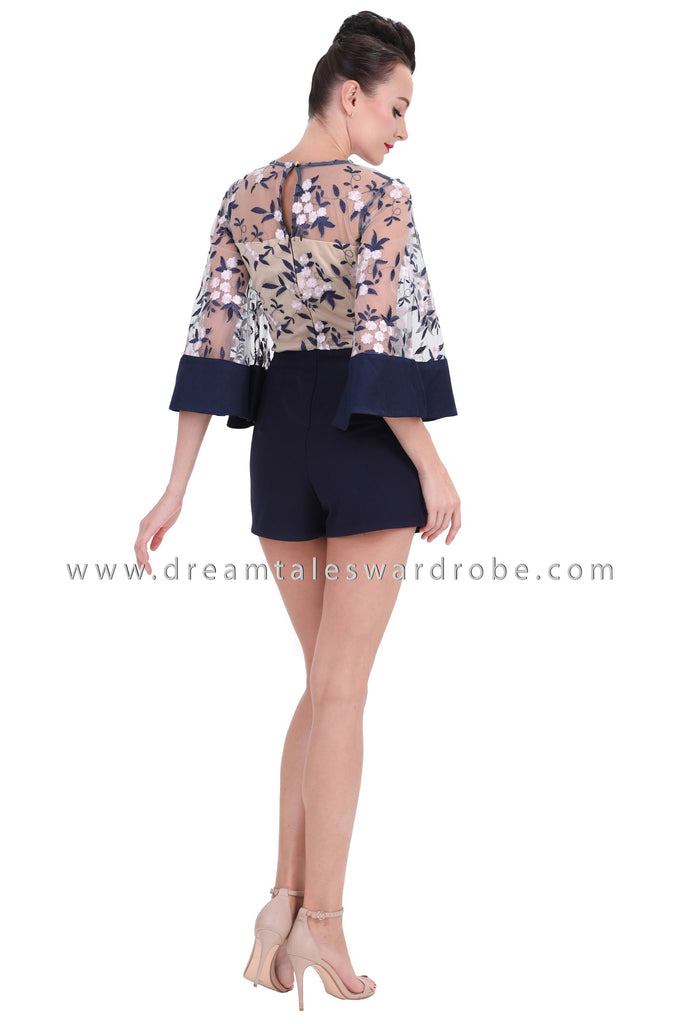 58ee9c39b5 DT1253 Floral Embroidered Flare Sleeves Playsuit - Blue – DreamTales ...