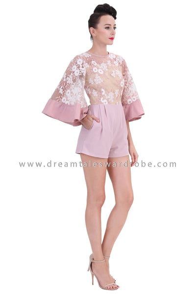DT1253 Floral Embroidered Flare Sleeves Playsuit -  Pink