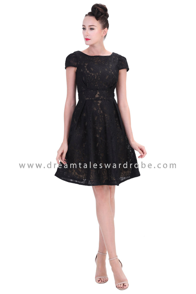 DT1254 Boat Neck Fit & Flare Lace Dress - Black