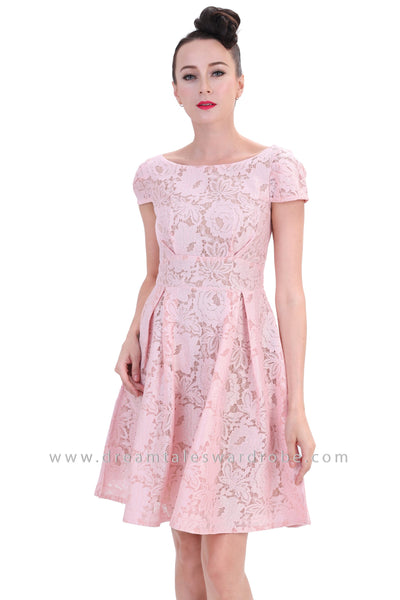 DT1254 Boat Neck Fit & Flare Lace Dress -  Pink