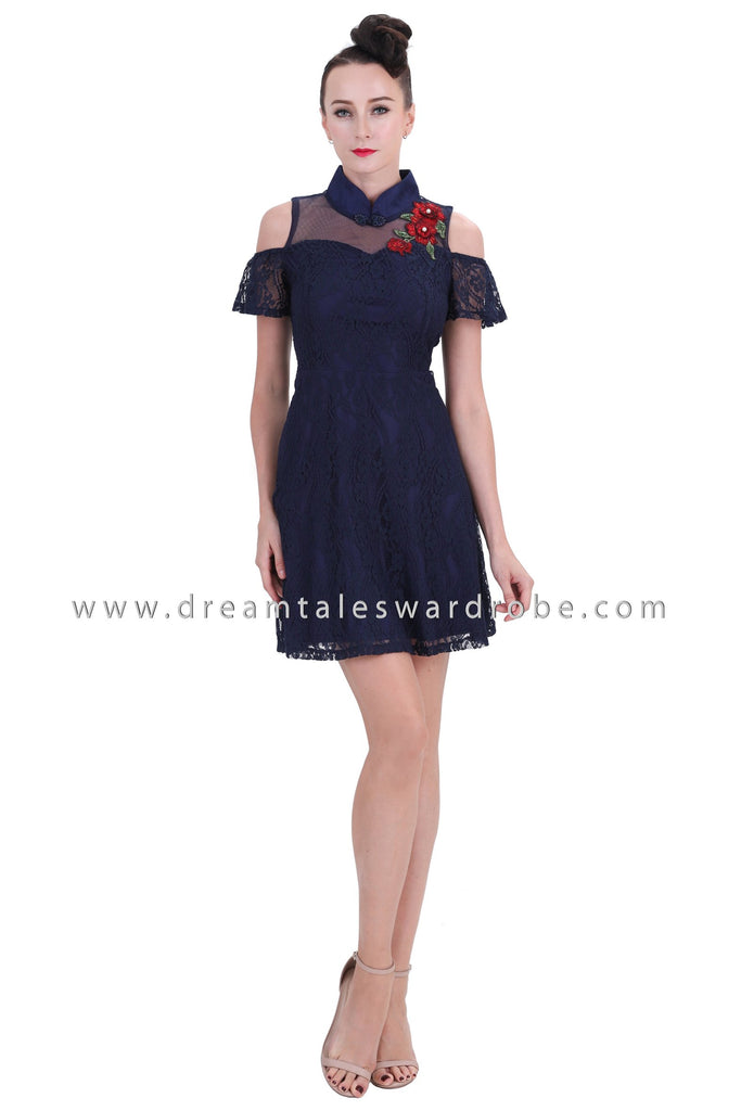 DT1256 Cold Shoulder Mandarin Collar Dress - Blue