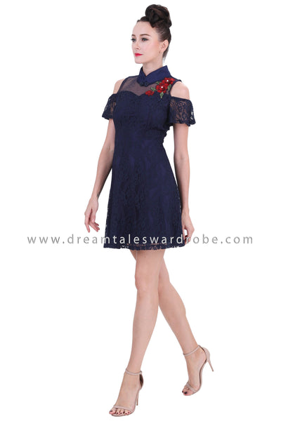 DT1256 Cold Shoulder Mandarin Collar Cheongsam Dress - Blue
