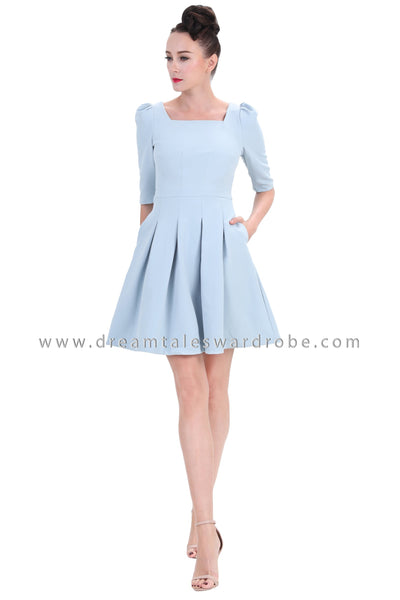 DT1257 Square Neck Pleated Dress -  Blue