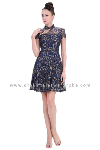 DT1259 Floral Lace Oriental Cheongsam Dress - Blue