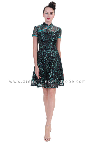 DT1259 Floral Lace Oriental Cheongsam Dress - Green
