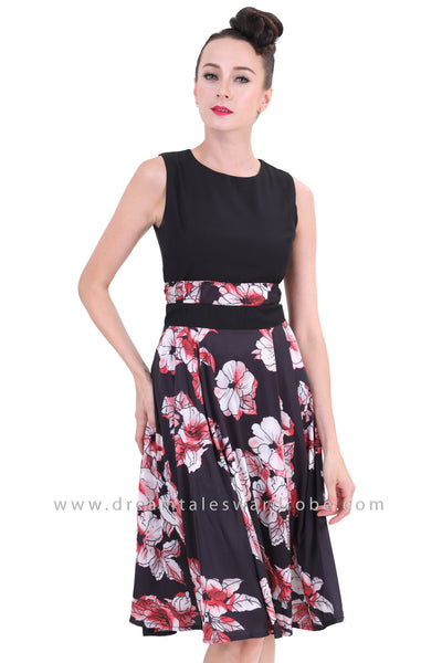DT1260 Contrast Floral Sleeveless Fit & Flare Dress -  Floral