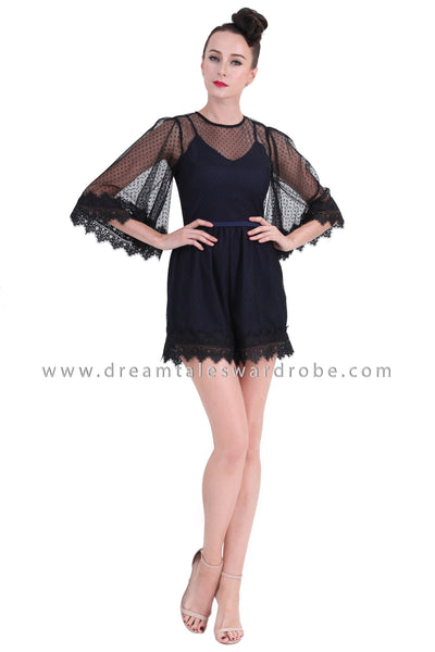 DT1262 Sheer Lace Flare Sleeves Playsuit -  Blue