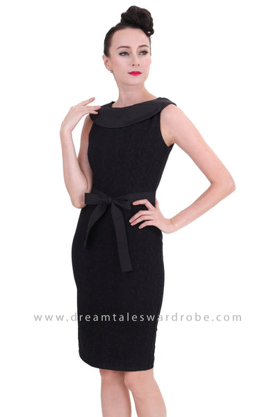 DT1264 Bertha Collar Bow Waist Bodycon Dress - Black