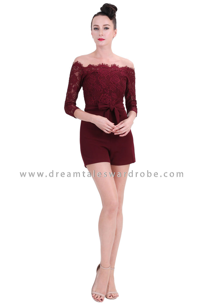DT1265 Off Shoulder Lace Playsuit -  Maroon