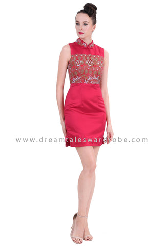 DT1266 Embelished Oriental Mini Cheongsam Dress - Maroon