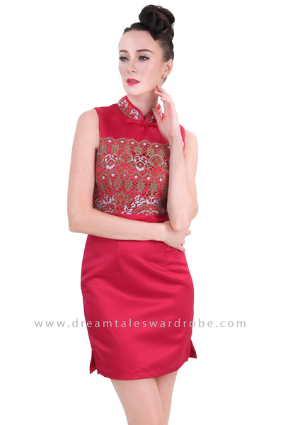 DT1266 Embelished Oriental Mini Dress - Maroon