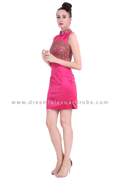 DT1266 Embelished Oriental Mini Cheongsam Dress - Pink
