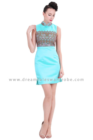 DT1266 Embelished Oriental Mini Cheongsam Dress -  Turquoise