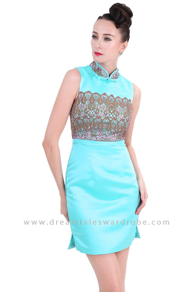 DT1266 Embelished Oriental Mini Dress -  Turquoise