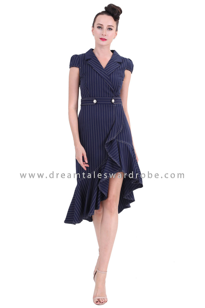 DT1268 Ruffle Hem Midi Suit Dress - Blue
