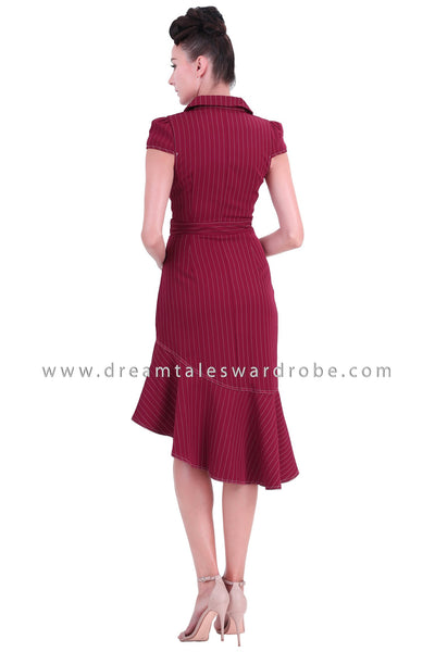 DT1268 Ruffle Hem Midi Suit Dress -  Maroon