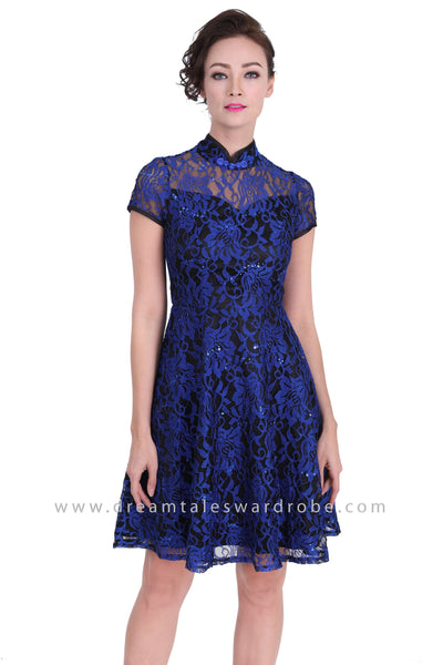 DT1270 Floral Lace Modern Cheongsam Dress - Blue