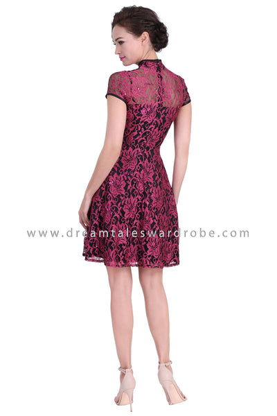 DT1270 Floral Lace Modern Cheongsam Dress -  Pink