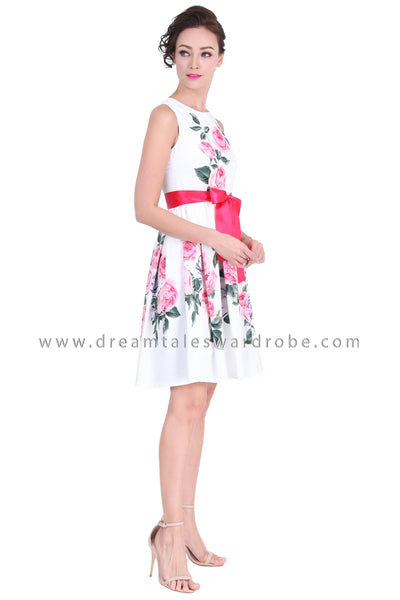 DT1271 Floral Bow Waist Pleated Dress -  White