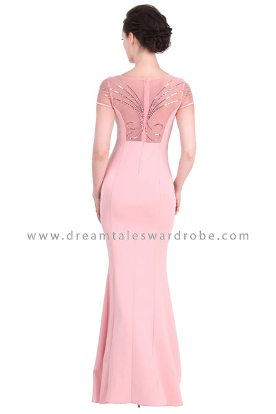 DT1273 Sweetheart Mesh Mermaid Maxi Gown -  Pink