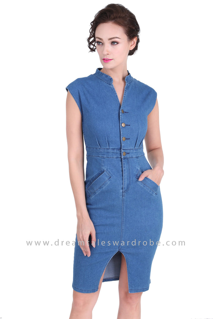 6315fd9b04 DT1274 Stand Collar Buttoned Denim Dress - Medium Blue – DreamTales ...