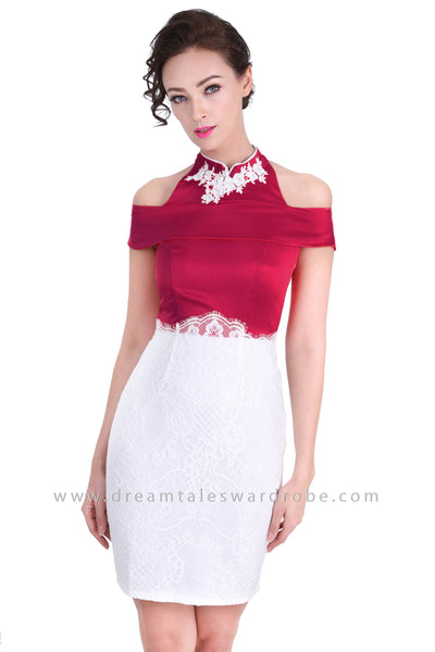 DT1276 Cold Shoulder Oriental Pencil Cheongsam Lace Dress -  Maroon