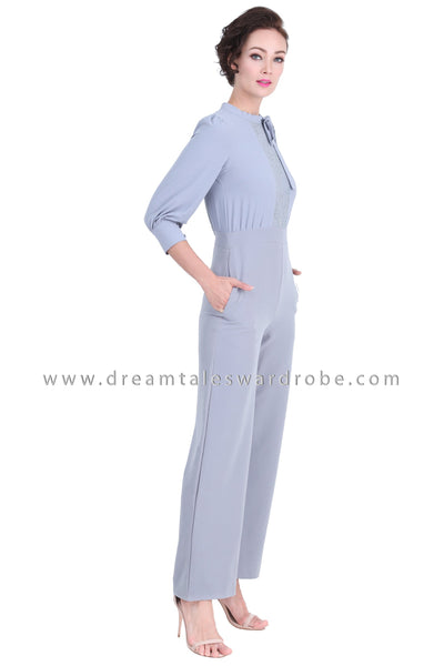 DT1282 Charming Bow Neck High Waist Jumpsuit -  Gray