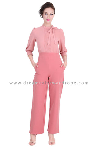 DT1282 Charming Bow Neck High Waist Jumpsuit - Peach