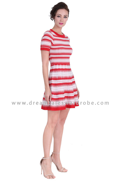 DT1283 Knitted Fit & Flare Dress - Red