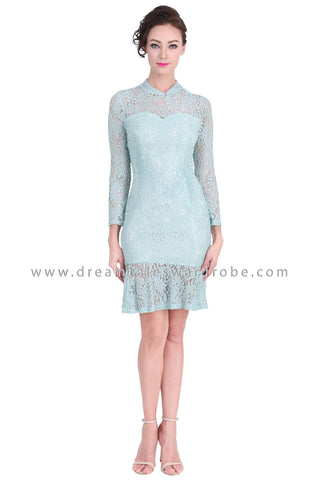 DT1284 Mod Oriental Lace Drop Hem Cheongsam Dress -  Powder Green