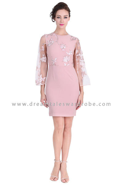DT1287 Split Cape Sleeve Embroidered Pencil Dress -  Pink