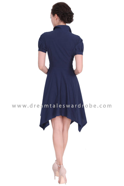 DT1288 Double Buckle Handkerchief Hem Dress -  Blue