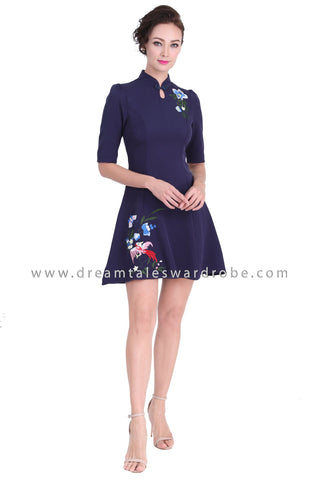 DT1289 Modern Collar Floral Embroidered Cheongsam Dress -  Blue