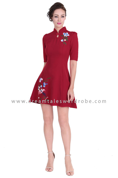 DT1289 Modern Collar Floral Embroidered Cheongsam Dress - Maroon