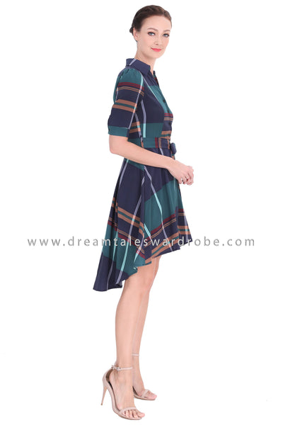 DT1290 Collared Checked High Low Hem Dress -  Green