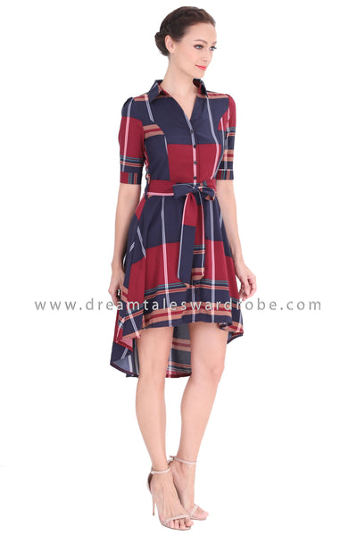 DT1290 Collared Checked High Low Hem Dress - Maroon