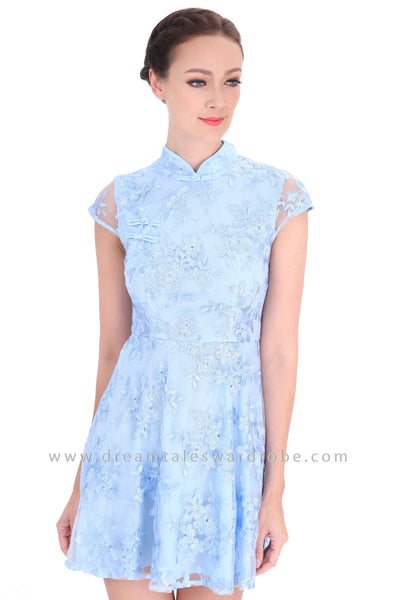 DT1293 Floral Embroidered Oriental Cheongsam Dress - Blue