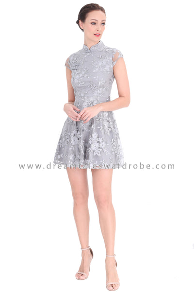 DT1293 Floral Embroidered Oriental Cheongsam Dress - Gray